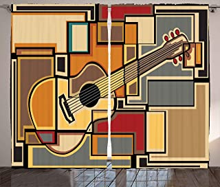 Ambesonne Music Curtains, Funky Fractal Geometric Square Shaped Background with Acoustic Guitar Art, Living Room Bedroom Window Drapes 2 Panel Set, 108