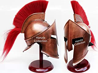 Hanzlacollection Medieval Armor King Leonidas Greek Spartan 300 Roman Helmet on Wooden Stand