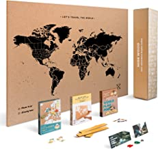 Push Pin Travel Map Kit Includes: Cork World Travel Map, World Flags, Food Stickers, for Travelers (Black, L (17.7 x 23.6 inches))