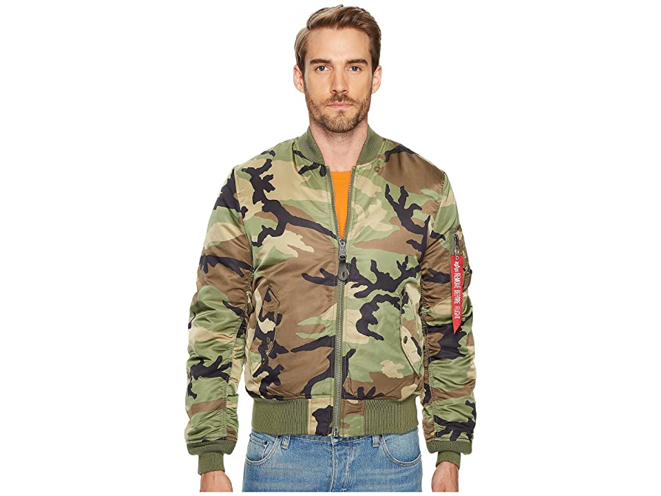 Image of Alpha Industries MA-1 Slim Fit Flight Jacket (Woodland Camo) Men's Coat