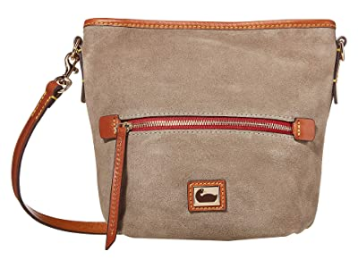 Dooney & Bourke Camden Fielding Suede Mini Hobo Crossbody (Grey/Brandy Trim) Handbags