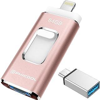 Unidad Memoria Flash USB 3.0 64 GB Memoria Lápiz Drive OTG PHICOOL [4 en 1] con Type C Conector USB Mirco Expansión de Memoria para iPhone iPad Android PC - Rosa