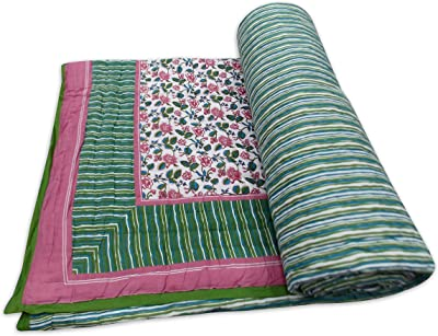 Details about  /Cotton Floral Print Kantha Quilt Indian Twin Blanket Throw Bohemian Bedspread