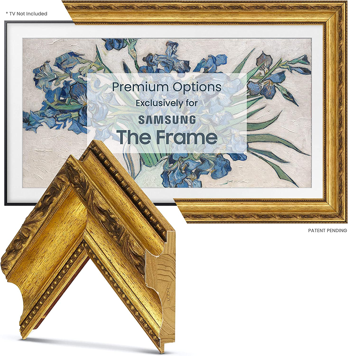 Deco TV Frames - Seasonal Wrap Introduction Ornate Gold ONLY Compatible Frame Smart with San Diego Mall Sa