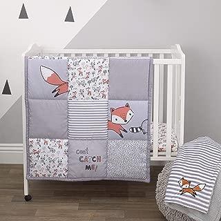 Little Love By Nojo Lil Fox, Grey, Orange, White 3Piece Nursery Mini Crib Bedding Set With Comforter, 2 Fitted Mini Crib Sheets, Orange, Grey, White, Charcoal