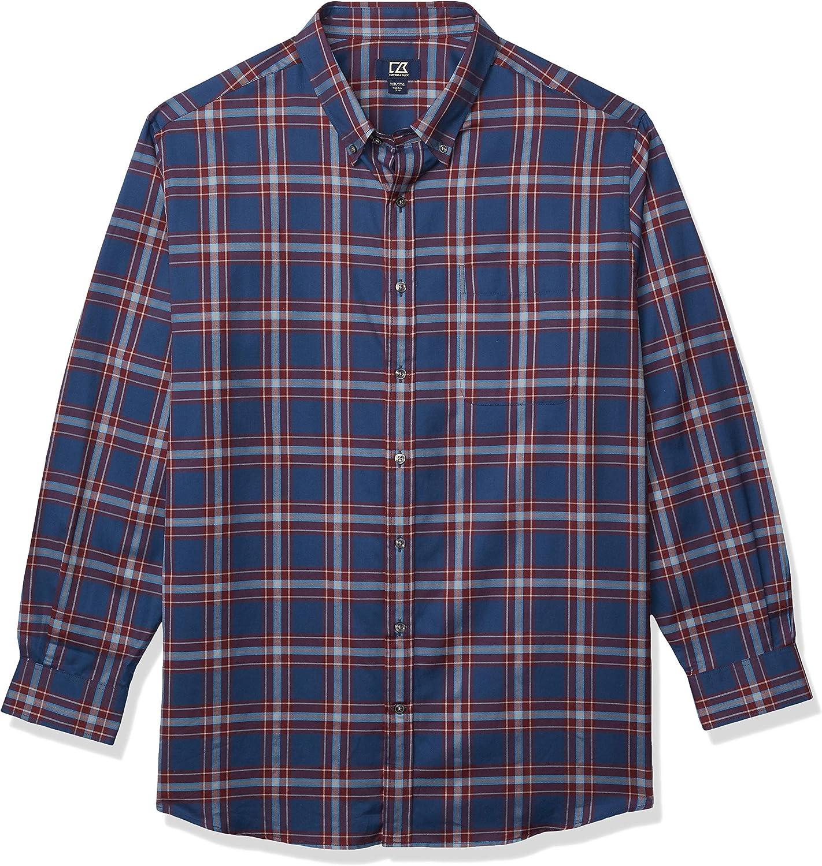 Cutter & Buck Men's Big-Tall Long Sleeve Dock Place Plaid Shirt
