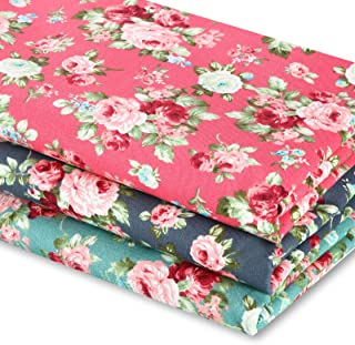 3 Pieces 3 Yards 62 Inch Wide Vintage Floral Fabric Rose Pattern Flowers Print Quilting Fabric Bundle for Quilting Sewing ...