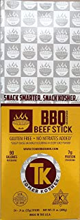 Tomer Kosher Beef Sticks, 100% USA Beef, MSG, Gluten, and Soy Free, No Nitrates Added, (BBQ, 24-Count, .9 oz Jerky Stick)