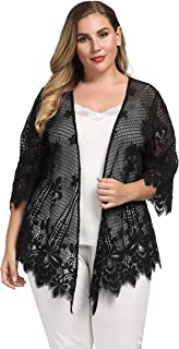 Women's Plus Size Scalloped Lace Kimono Lace Cover up Top