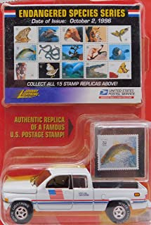 White Lightning 1996 Dodge Ram U.S. Postal Service Pickup Truck ( Chase White Lightning Printed on Tires) Endangered Species Stamps Limited Edition Collection 1:64 Scale die-cast