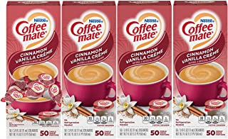 Nestle Coffee mate Coffee Creamer, Cinnamon Vanilla Creme, Liquid Creamer, Box of 50 Singles (Pack of 4)