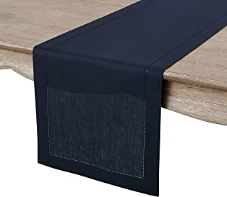 Solino Home Hemstitch Linen Table Runner - 14 x 36 Inch, Handcrafted from European Flax, Machine Washable Classic Hemstitch - Navy