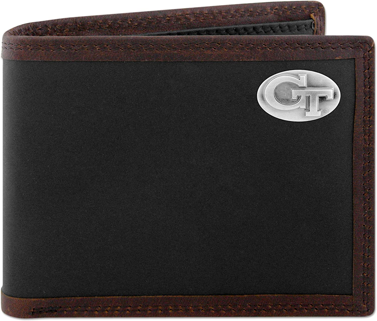 ZEP-PRO NCAA mens Limited time wholesale cheap sale Zep-pro Black Passcase Conch Brown and Leather