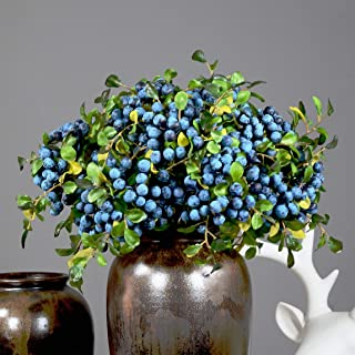 Rinlong Artificial Blueberries Fake Berries Stems Hanging Spray Frosted Blueberry Fall Floral Picks for Auntumn Fall Wreath Thanksgiving Christmas Festival Home Kitchen Party Farmhouse Decoration
