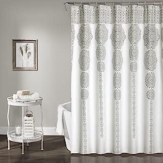 "Lush Decor Stripe Medallion Shower Curtain-Fabric Mandala Bohemian Damask Print Design, x 72"", Gray, 72"