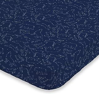 NoJo Super Soft Navy & White Cosmic Constellations Nursery Mini Crib Fitted Sheet, Navy, White