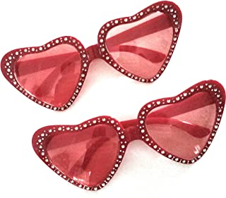 Valentines Day Novelty Glasses Red Heart Shaped Sparkly Gems (2 Pairs)