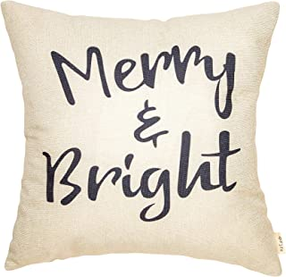 Fjfz Rustic Christmas Sign Décor Merry and Bright Farmhouse Winter Decoration Gift Cotton Linen Home Decorative Throw Pillow Case Cushion Cover with Words for Sofa Couch, 18