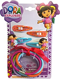 Dora The Explorer Hair Clips and Hair Ties With Bows Two (2) Sets; 18 Pieces!!