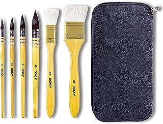 OOKU 羽毛ブラシ 6本 プロ用 丸型 リス ヘアブレンド ペイントブラシ 一貫した流れ + 2サイズ プロフェッショナルウールブラシセット アートペイント ウォッシュモップ グワッシュ アーティスト品質用品 6サイズ