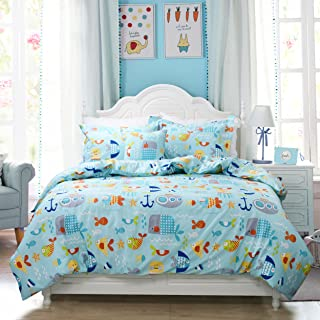 Brandream Toddler Bedding Sets Queen Size Blue Nautical Bedding for Boys Girls Fish Printed Duvet Cover Set Cotton 3-Piece(No Comforter Included)