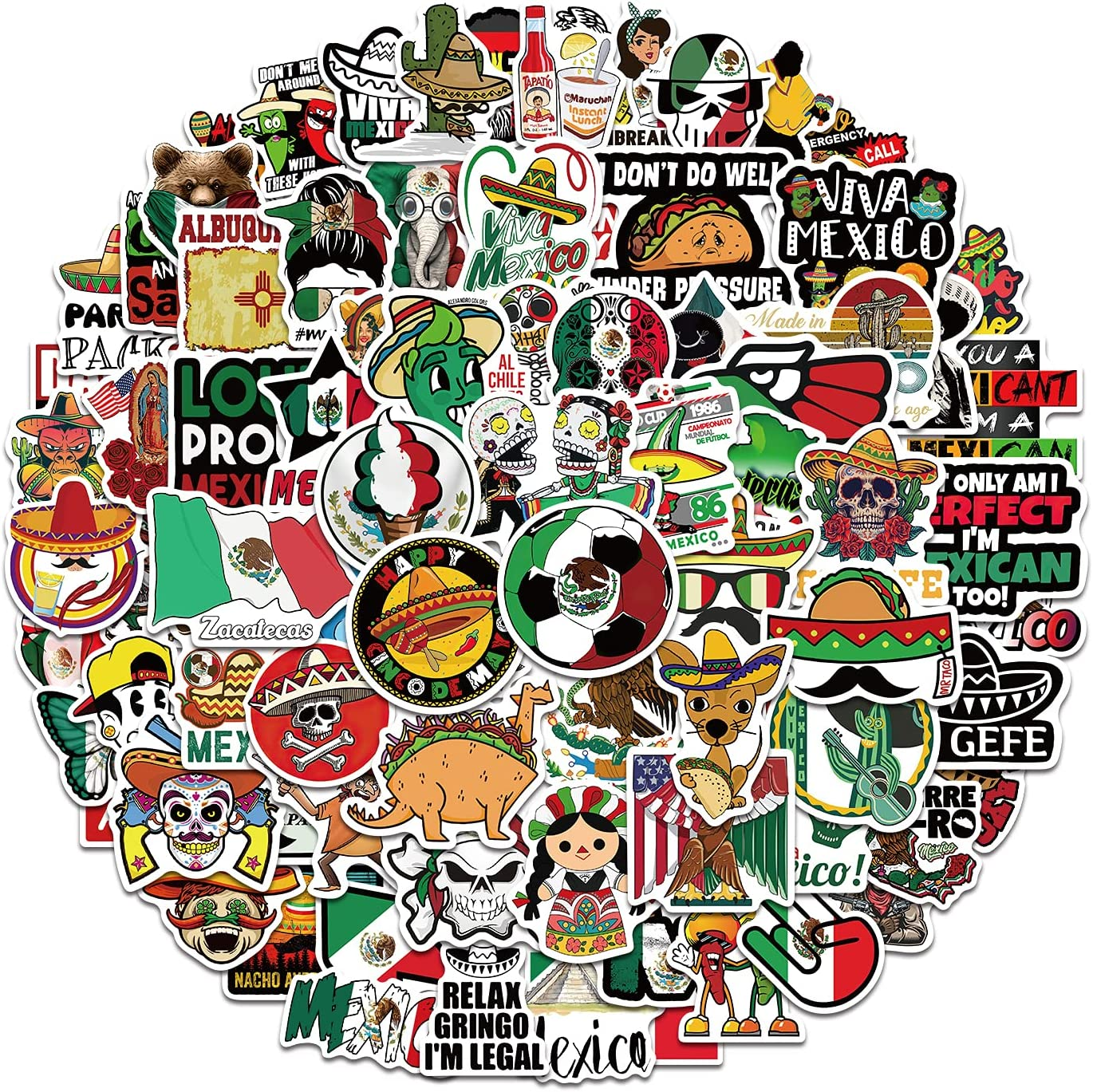 Mexican Stickers 100pcs Vinyl Waterproof Mexico Stickers Decals for Teens Adults Laptop Bumper Water Bottles Computer Phone Guitar Luggage
