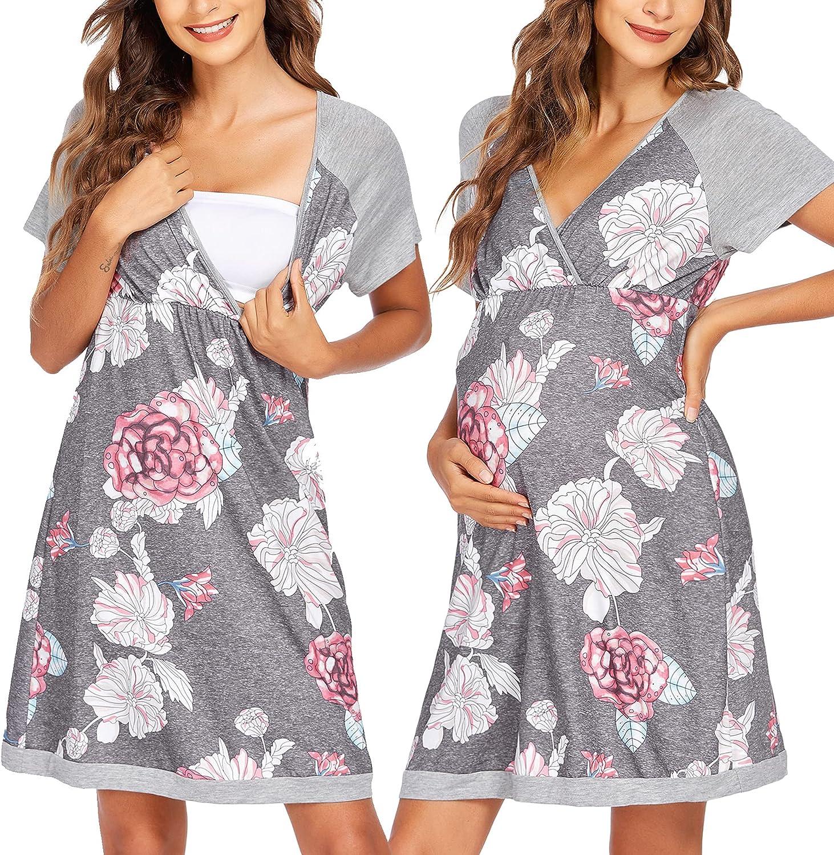 Ekouaer 3 in 1 Delivery/Labor/Nursing Nightgown Women's Maternity Hospital Gown/Sleepwear for Breastfeeding Sleep Dress