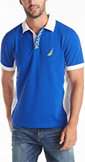 Nautica mens Short Sleeve Color Block Performance Pique Polo Shirt Polo Shirt