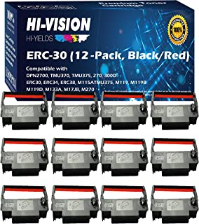 HI-VISION HI-YIELDS Compatible ERC-30 (Black/Red) Ink Ribbon Replacement (12 Pack) for Epson M119 M119B M119D M133A M270 M52JB IT-U375 TM-200 TM-260