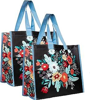 Large Oversize Reusable Foldable Grocery/Produce Bag Set of 2, Heavy Duty Eco Market Shopping Bag with Durable Shoulder Straps, Folk Floral