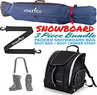 Athletico Freestyle Padded Snowboard Bag Bundle - Snowboard Bag + Snowboard Boot Bag + Snowboard Boot Strap (Black/Blue, 175 cm)