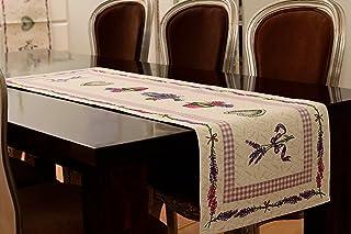 www.mylovelyhomeshop.de Edler Lavendel Tischläufer 45x140cm Gobelin Stoff Landhaus Muster Kräutergarten Shabby