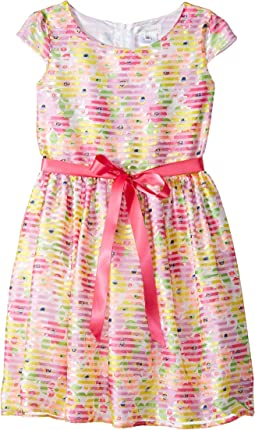 Cap Sleeve Shadow Striped Organza Dress (Big Kids)