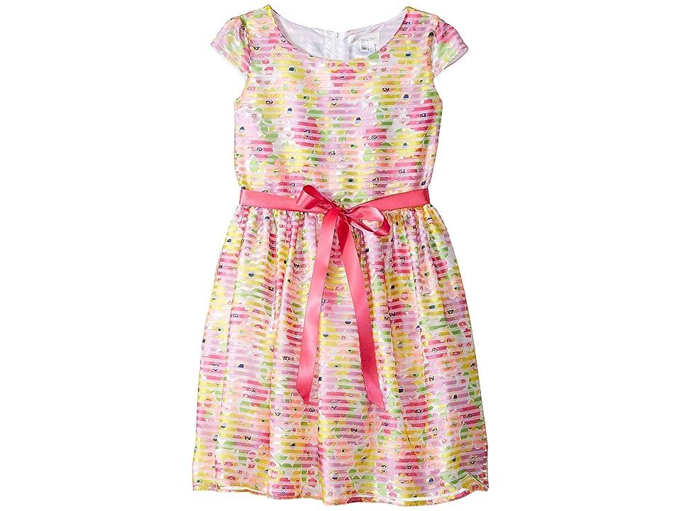 Us Angels Cap Sleeve Shadow Striped Organza Dress (Big Kids) (Multi) Girl