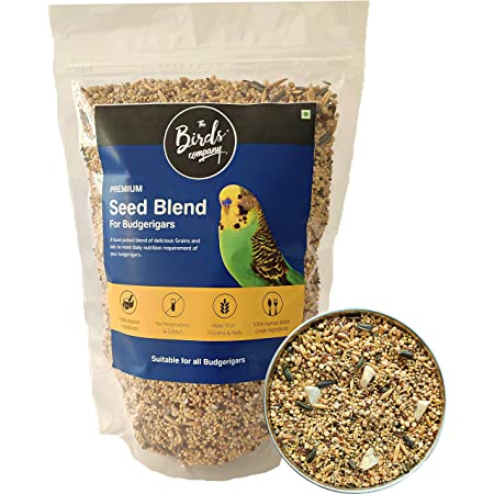 The Birds Company Premium Seed Blend of 9 Grains & Nuts, Fortified with Spirulina & Cuttlefish Bone, Bird Food for Budgies, 450 g
