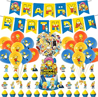 94 Pcs Simpsons Party Supplies, The Simpsons Theme Birthday Party Decorations for Kids Adults with Happy Birthday Banner C...