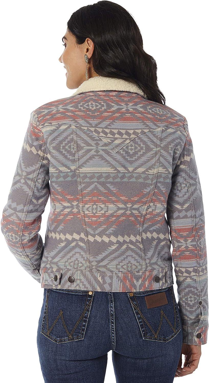 Wrangler Womens Retro Heritage Sherpa Lined Jacket Retro Premium Heritage Jacquard Jacket