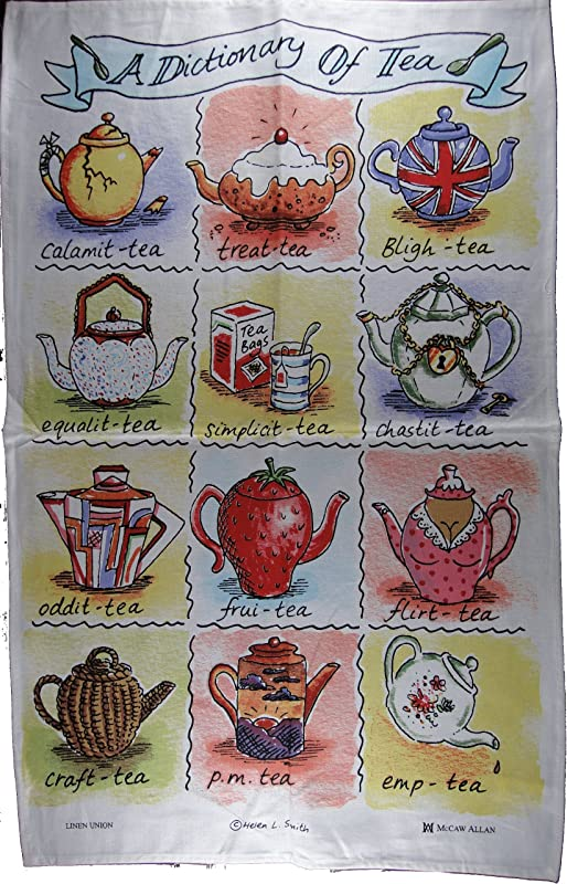 A Dictionary Of Tea Cotton Linen Funny Printed Tea Towel Ideal For Tea Drinkers By Lamont
