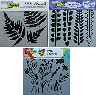 3 Crafters Workshop Stencils | Fern, Camo, Wildflower, Leaf Designs | Mixed Media Stencils Set Includes 6 Inch x 6 Inch Templates for Painting, Arts, Card Making, Journaling, Scrapbooking
