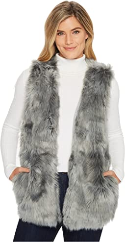 Dylan by True Grit - Denim Melange Long Fur Vest with Heather Knit Lining