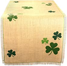 "DII 14x74"" Jute/Burlap Table Runner, Green Shamrock Clover - Perfect for St. Patrick's day, Spring, Dinner Parties, or Eve..."