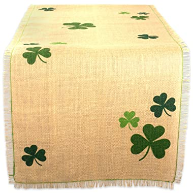 DII 14x74  Jute/Burlap Table Runner, Green Shamrock Clover - Perfect for St. Patrick's day, Spring, Dinner Parties, or Everyday Use