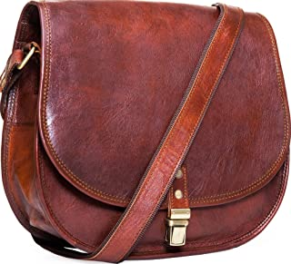 Urban Leather Crossbody Bags for Women Saddle Bag Purse Handbags Gift for Young Women & Teen Girls | Genuine Leather Satchel Shoulder Bags Small Size 12 inch