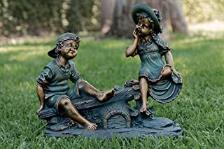 Alpine Corporation Girl and Boy Playing on Teeter Totter Statue - Outdoor Decor for Garden, Patio, Deck, Porch - Yard Art Decoration