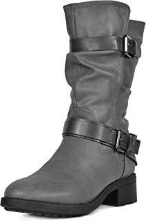 Womens Faux Fur Mid Calf Riding Winter Snow Boots