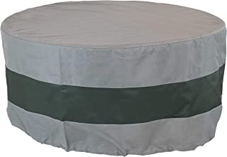 Sunnydaze Round 2-Tone Outdoor Fire Pit Cover - Gray/Green Stripe - Heavy Duty 300D Polyester Exterior Circular Winter Cover for Fire Pit - Waterproof and UV-Resistant - 36-Inch x 12-Inch