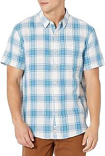 Lucky Brand mens SHORT SLEEVE BUTTON UP 1 POCKET BALLONA SHIRT Button Down Shirt