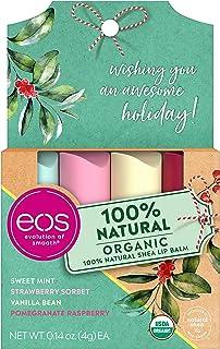 eos USDA Organic Lip Balm - Holiday Gift Set Variety Pack   100% Natural and Gluten Free   Long Lasting Hydration   0.14 o...