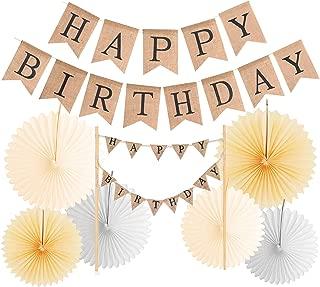 Happy Birthday Banner Burlap + Happy Birthday Cake Topper   Rustic Jute Happy Birthday Banner Vintage Happy Birthday Banners for Birthday Party Decorations   Banner - Handmade Ivory Pennant Flag Bann
