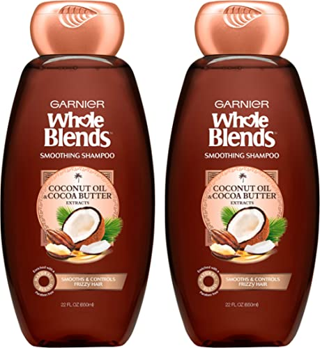 Garnier Hair Care Whole Blends Smoothing Hair Care Shampoo Set With Coconut Oil and Cocoa Butter Extracts, For Frizz ...